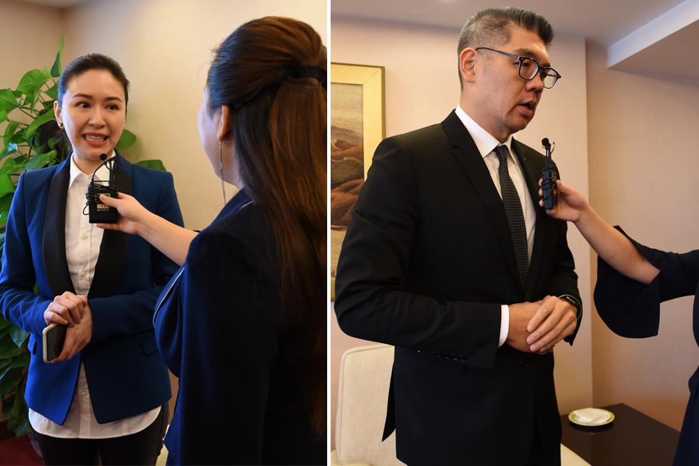 连胜文.蔡依珊夫妇接受采访